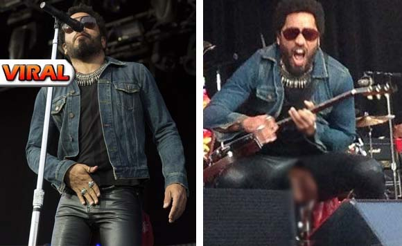 Lenny kravitz s pants rips exposes his penis during concert newsko